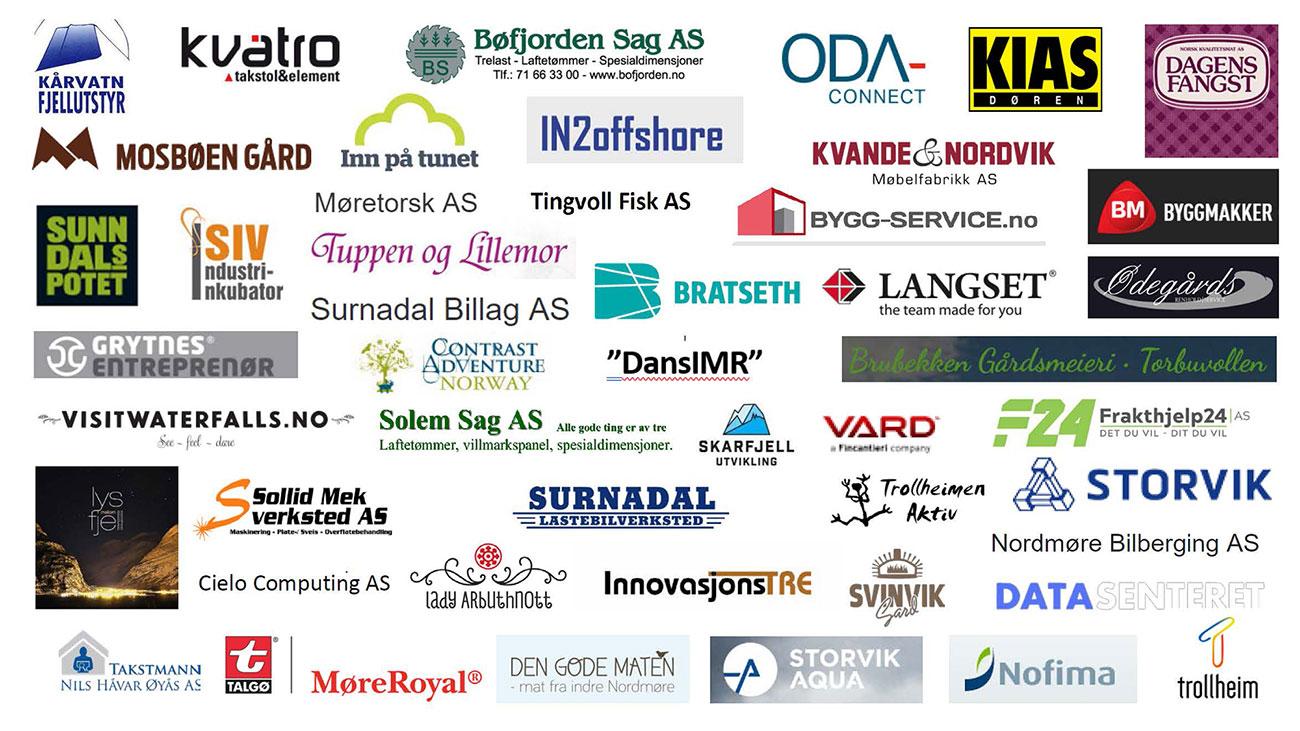 Logoer til bedrifter som har fått tilskudd
